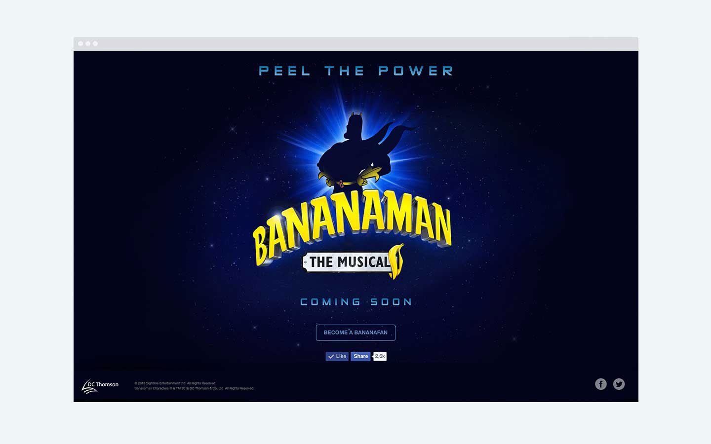 Bananaman - The Musical landing page