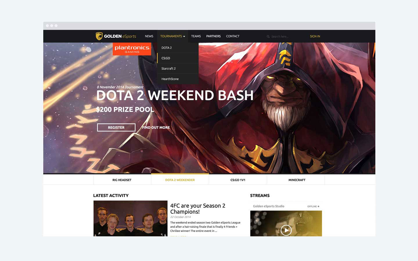 Golden eSports - Homepage Concept