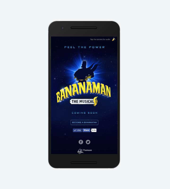 Bananaman - The Musical mobile landing page
