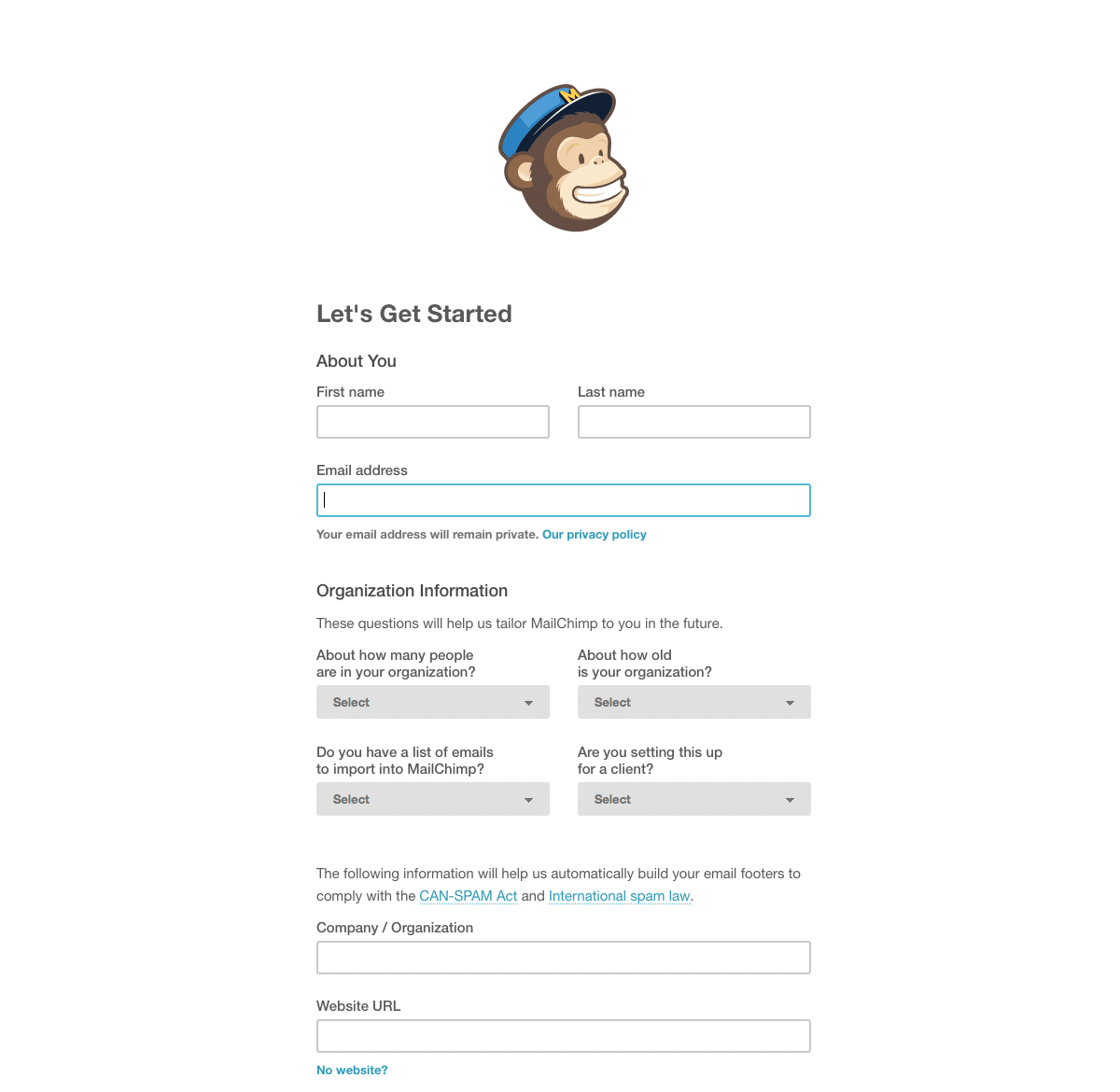 MailChimp form example